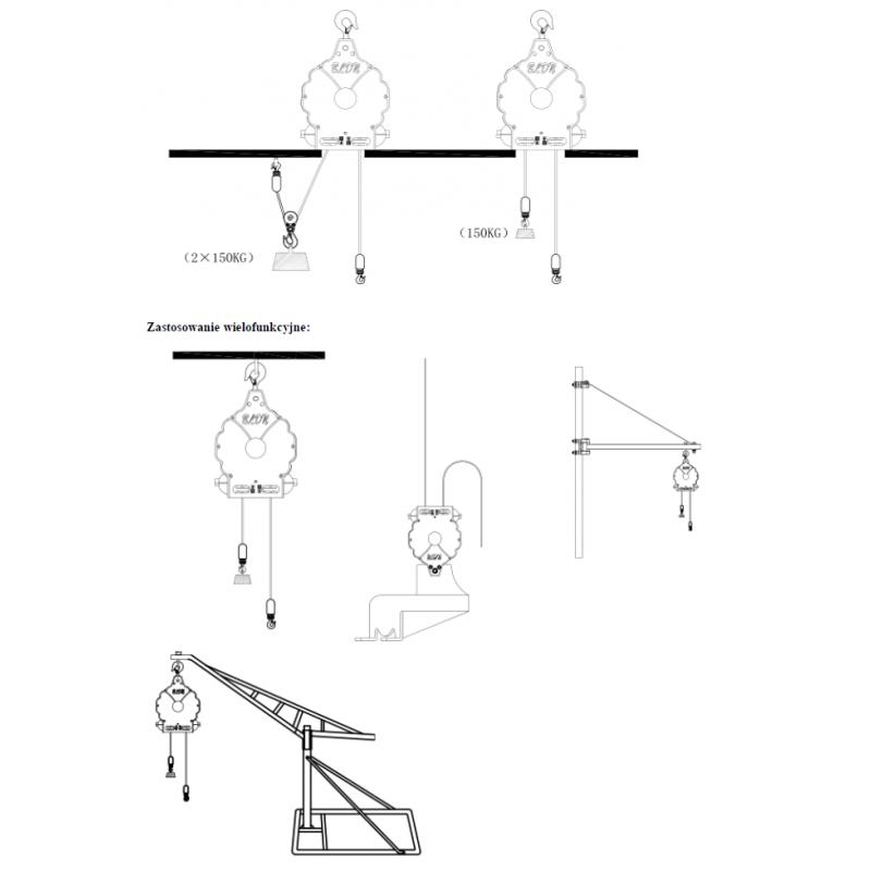 Wciągnik linowy elektryczny, BLND-YT-HPE150 ,  150kg, 1100W, lina  20m